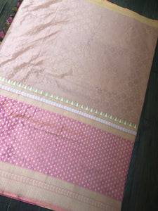 Katan Silk Banarasi - Pink Peach Antique Zari