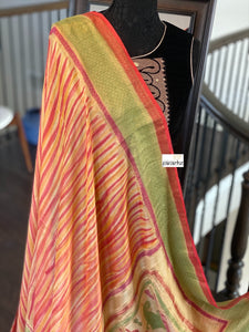 Muga Silk Banarasi - Yellow Orange Green Tie Dye