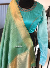 Designer Blouse - Sea green Full Sleeve