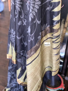 Printed Muga Silk - Black Green Golden Zari