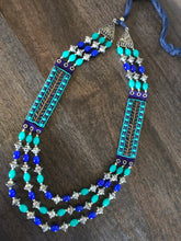 Jewelry Long Necklace- Firozi Blue Beaded German Silver