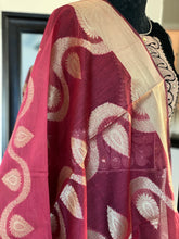 Silk Cotton Dupatta - Maroon 2 Golden Zari