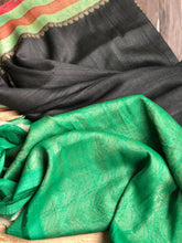 Tussar Georgette Banarasi- Black Green