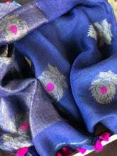 Handloom Banarasi Linen - Purplish Blue Zari woven