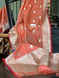 Soft Silk Banarasi - Peach Antique Zari