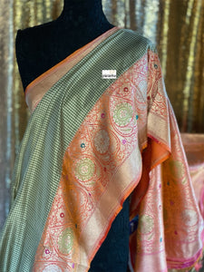 Pure Katan Silk Checkered Banarasi - Moss Green Orange Kadwa woven