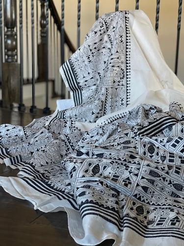 Pure Tussar Silk Kantha Stitch -  White Black
