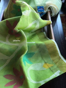 Designer Jamdaani- Light Green floral