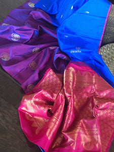 Pure Silk Kanjivaram - Royal Blue Purple Magenta