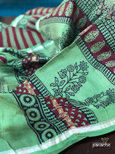 Bagh Print Saree - Moss Green Brown Silver Zari