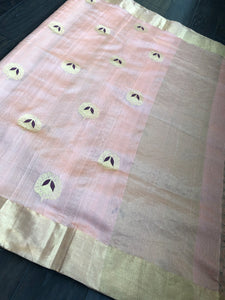 Pure Chanderi Silk - Metallic Peach  Eknaliya Woven