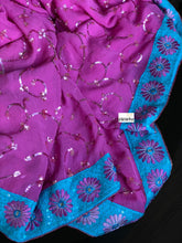 Designer Saree - Pink Firozi Embroidered