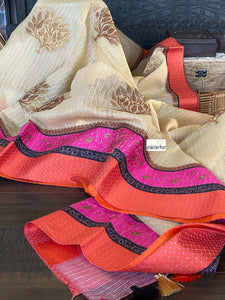 Kota Silk - Golden Beige Orange Pink