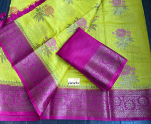 Muga Silk Banarasi - Lemon Yellow Magenta