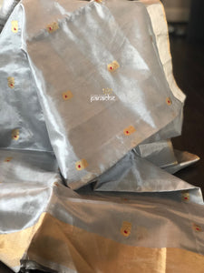 Pure Chanderi Silk - Silver Grey Eknaliya 1 Woven