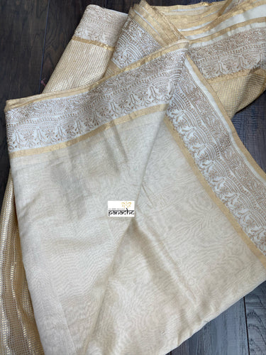 Chanderi Silk Cotton Tissue - Golden Beige Embroidered