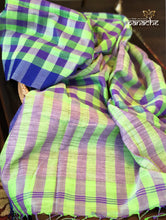 Designer Khadi Checks - Green Purple