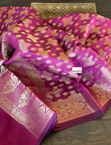 Silk Cotton Dupatta - Magenta Golden Zari