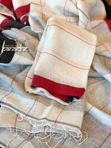 Linen Handloom - White Black Red border