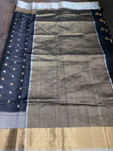 Pure Chanderi Silk -  Black Golden Silver Zari Woven