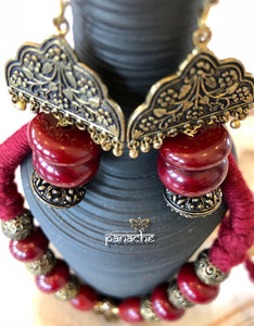 Jewelry- Antique Gold Red Beaded Set