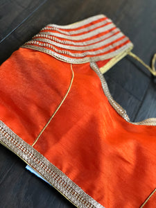 Designer Blouse - Orange Stone Studed