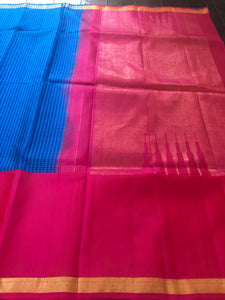 Pure Silk Kanjivaram - Royal Blue Checkered Hot Pink