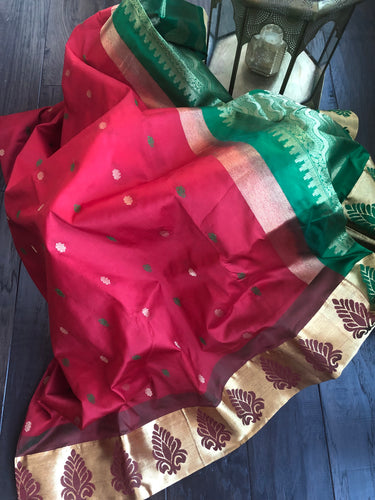 South Silk - Red Green Meenakari