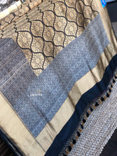 Tanchoi Silk Banarasi - Black Antique Golden and Silver Zari 2