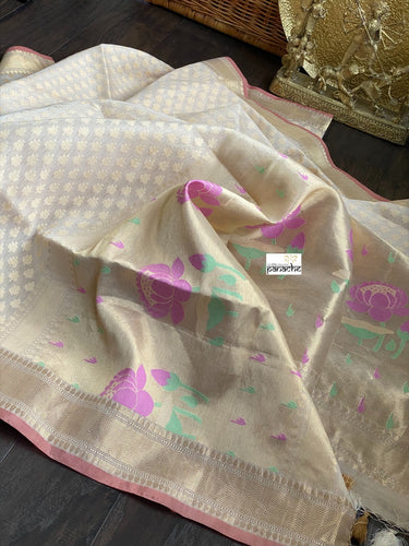 Silk Cotton Kora Banarasi - Cream Paithani Pallu