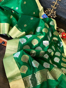 Chanderi Silk Cotton - Green Red