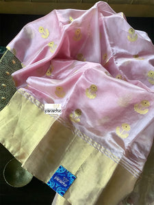 Pure Chanderi Silk - Light Baby Pink Eknaliya Woven