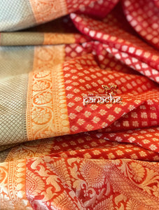 Cotton Silk Banarasi - Rust Yellow Green