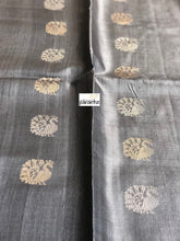 Tussar Silk - Steel Grey Peacock Woven