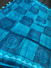 Pure Tussar Silk - Blue Firozi Printed and Appliqué