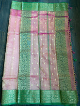 Tissue Chanderi Silk - Magenta Pink Green Golden Zari