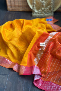 Mangalgiri Silk - Sunrise Orange Pink