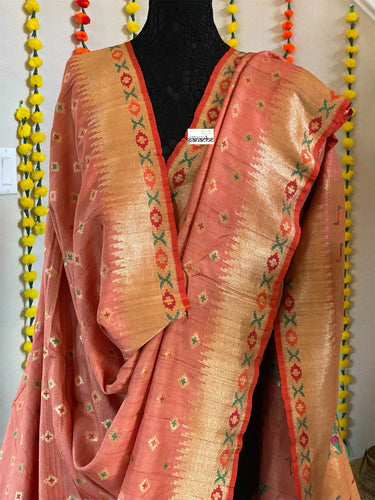 Tussar Georgette Banarasi - Light Carrot Orange Kadwa