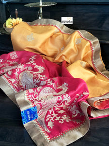Designer Tussar Silk - Golden Yellow Pink