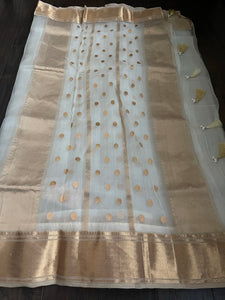 Pure Chanderi Organza Silk - Off White Iknaliya
