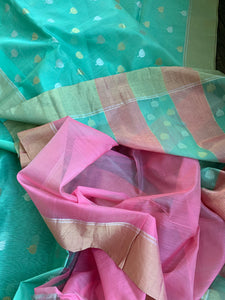 Chanderi Silk Cotton - Mint Green Silver Golden Zari
