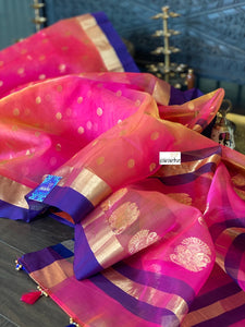 Pure Chanderi Katan Silk - Shaded Peach Magenta Golden Zari