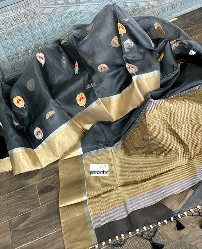 Pure Chanderi Katan Silk - Black Meenakari