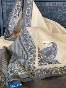 Cotton Banaras Chanderi - Light Beige Brown Black