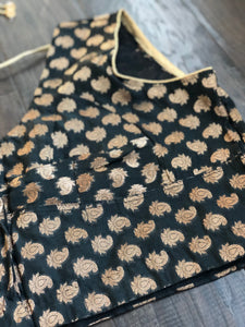 Designer Blouse - Black Zari Brocade