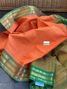 Gadwal Pure Cotton - Orange Green