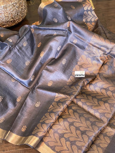 Tussar Silk - Steel Grey Black Resham Zari Woven