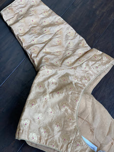 Designer Blouse - Cream Golden Brocade