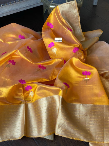 Pure Chanderi Silk - Mango Yellow Magenta Eknaliya Woven