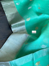 Chanderi Katan Silk - Mint Green Silver Zari